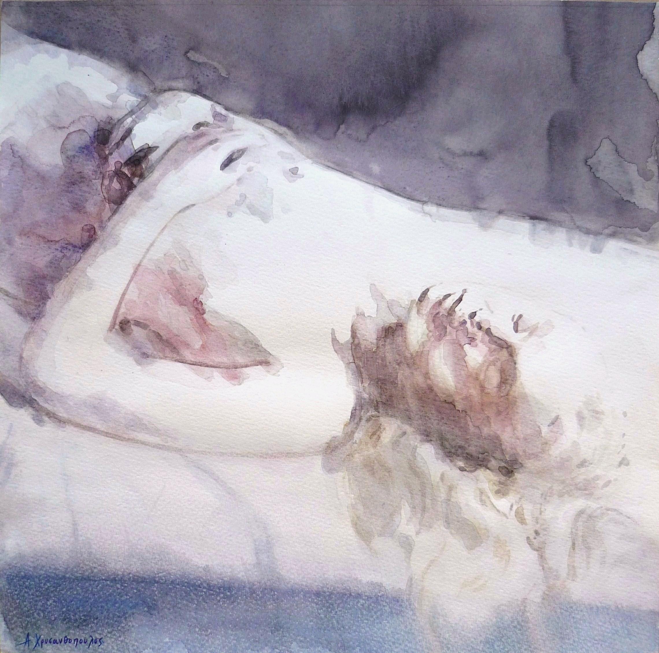 Sleeping beauty, 40Χ40, Ακουαρέλα