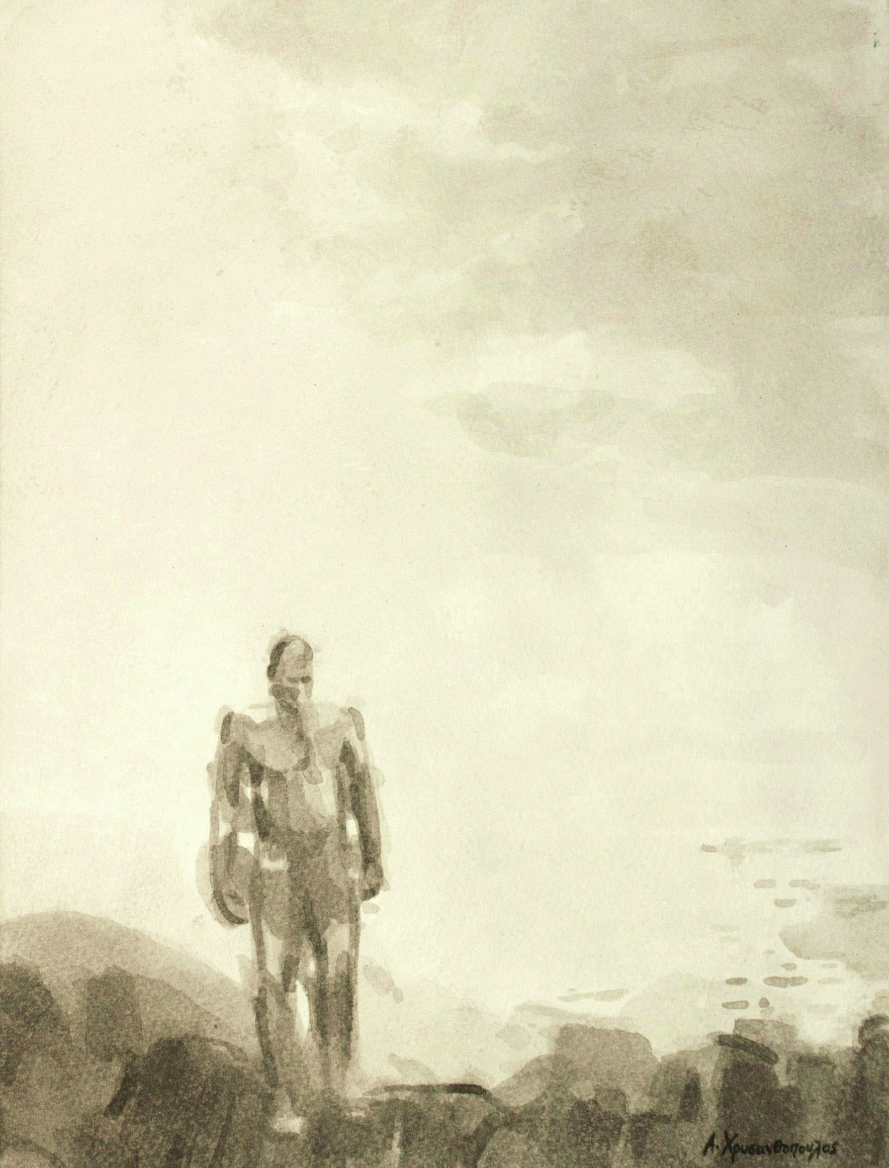 Φυγή, 30Χ40, Σινική μελάνη