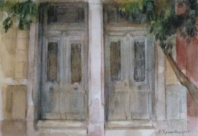 Οδός Επτανήσου-Δίδυμες πόρτες, 20,5Χ30, Ακουαρέλα